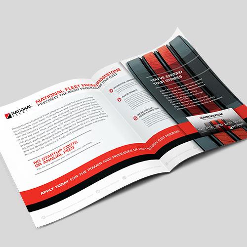 Bridgestone National Fleet Brochure, graphic design, brand launch, RedRhino